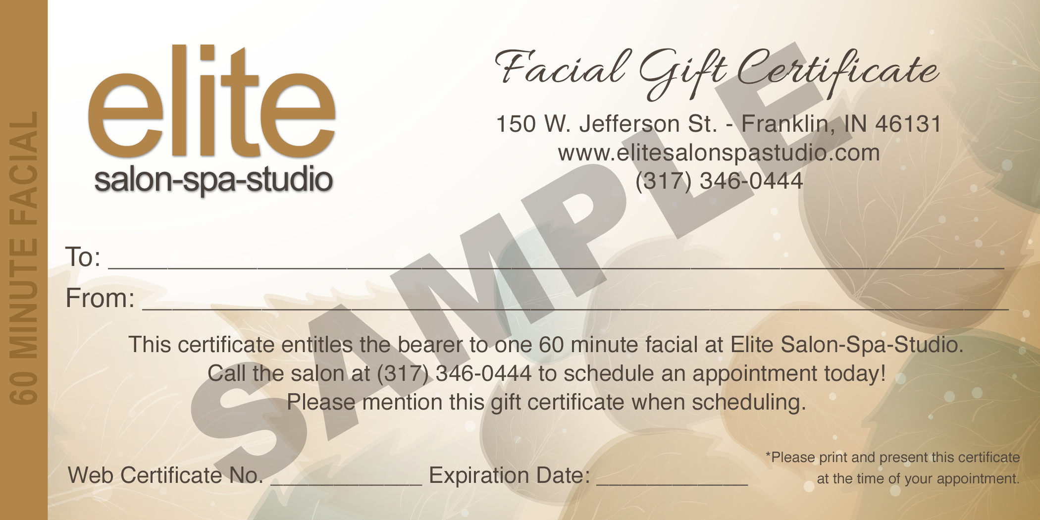 Facial gift certificate elite salon spa studio xflitez Image collections