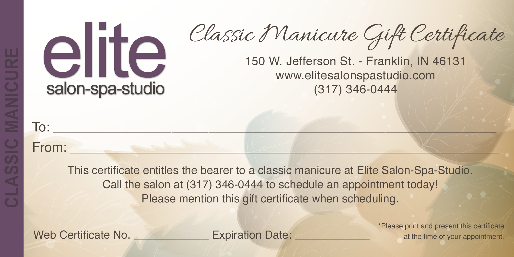 Manicure gift certificate gift ftempo for This entitles the bearer to template certificate