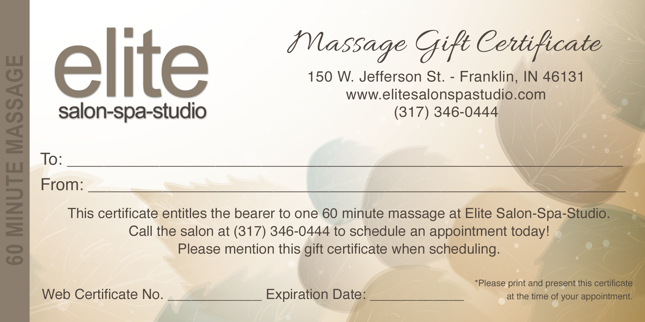 Massage gift certificate elite salon spa studio voucher image xflitez Images
